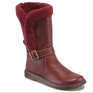 Doc Martens Brielle red wine leather boots